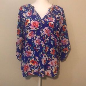 Yumi Kim Tie Sleeve Silk Blouse -Blue Floral - Med